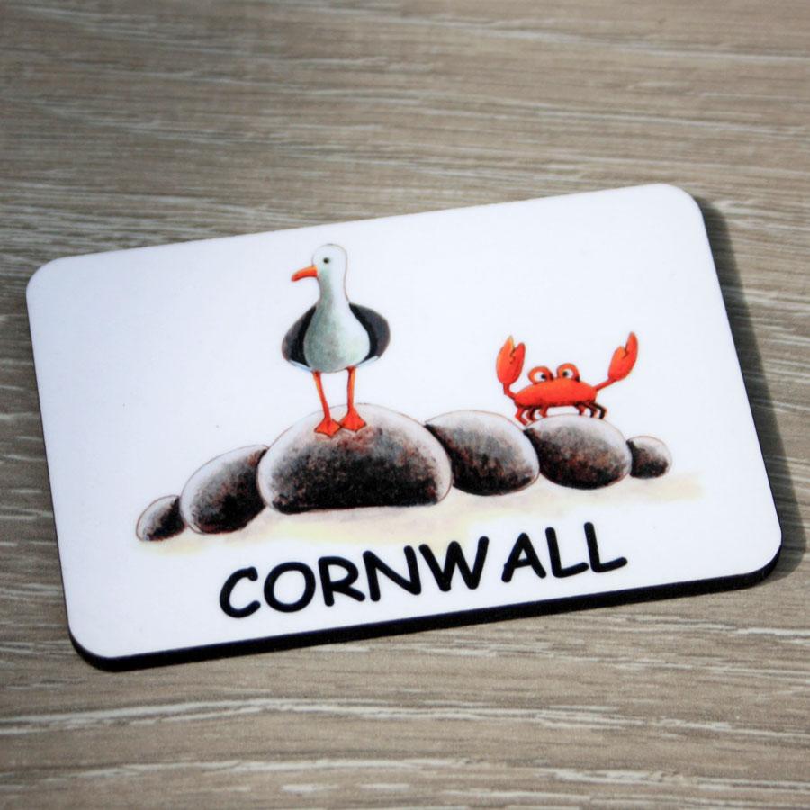 Cornish Cornwall Treat Gift Box keyring fridge magnet placename Seagull decoration