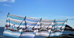 coastal stripe tea towels on the line